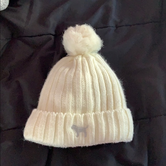 PINK white knitted winter hat
